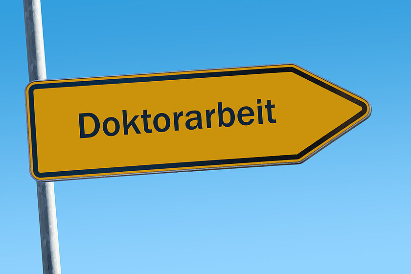 "A yellow sign saying ""doctoral thesis"" against a blue sky (opens enlarged image)"